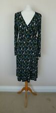 Moschino Cheap & Chic Black Blue Green White Giraffe Print Wrap Dress Size UK 14