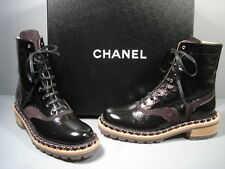 "CHANEL BLACK LACE UP ""CC"" SILVER CHAIN MOTORCYCLE BIKER ANKLE BOOTS 36.5 NEW"