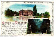 Gruss aus Dresden AK 1899 Herkules-Allee Schloss Mehrbild Litho Sachsen 1511004