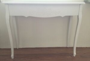 White Console Table Narrow Wood Side Table Display Occasional Hall Dressing Desk