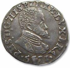 AR 1/10 Ecu/Philipstaler/Filipsdaalder Philip II of Spain, Antwerp mint 1571