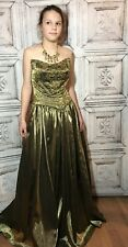 Alyce Women's Formal Dress Princess Medieval Beaded Prom Gold Green Sz 12