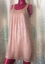 Gatsby Style Vintage BETSEY JOHNSON Blush Fully MOP Sequined 100% Silk Dress 6