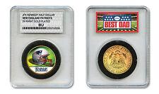 NEW ENGLAND PATRIOTS #1 DAD Licensed NFL 24KT Gold Clad JFK Coin Slabbed Holder