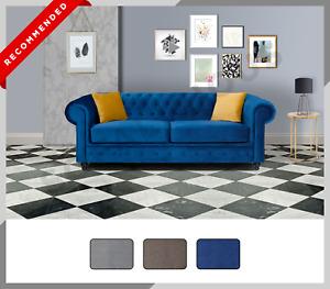CHESTERFIELD HILTON 3+2 Sofa Set Suite 3 or 2 Seater Sofa Plush Velvet Blue Grey