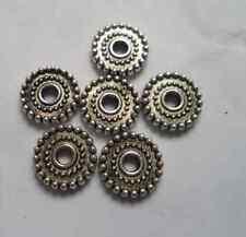 100pcs Tibetan silver Round flowers Beads Cap Spacer 9.5x2 mm