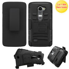 For LG Leon C40 Tribute 2 LS665 Hybrid Rugged Holster Case Cover Stand Belt Clip