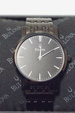 Bulova Mens Black Ion Plated Very Thin Watch - Stainless Steel Band 98A122 38mm