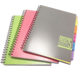 A4 Project Book Lined Notebook With 5 Colour Dividers Spiral Writing Pad