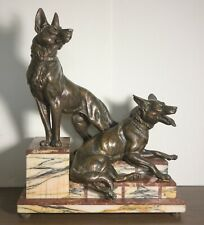 """Art Deco Marble and Bronze Grouping with Two German Shepards 21x17x11"""""""