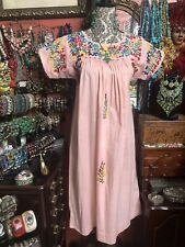 Very Pretty Vintage Pink Oaxacan Mexican Embroidered Dress Size S/M