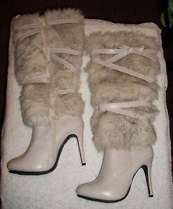 "Ladies Footwear Dressy Faux Fur Fashion Boots 8.5 Off White 3"" Stiletto Heel"