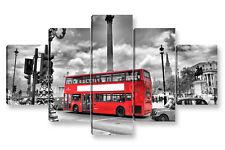 Quadro Moderno 5 pz. LONDON BUS cm 150x90 Londra arredamento stampa su tela casa