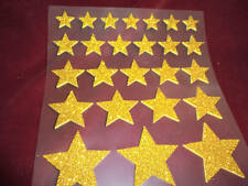 25 3D self adhesive GOLD glitter foam stickers -STAR