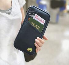 Black Travel Passport Credit ID Card Cash Wallet Purse Holder Case Document Bag