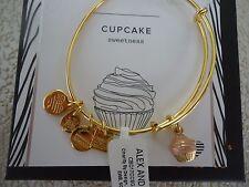 Authentic Alex and Ani CUPCAKE II Shiny Gold Charm Bangle New W/Tag Card & Box