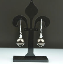 Brown Crystal Pearl Earrings Sterling Silver Filled Made With Swarovski Crystal