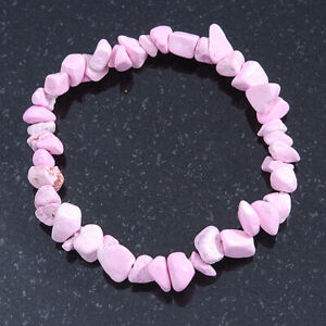 Baby Pink Semiprecious Nugget Stone Beads Flex Bracelet - 18cm L