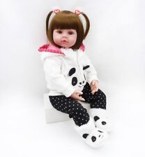 24''Reborn Doll Handmade Soft Silicone Lifelike Cute Baby Love Toddler Xmas Gift