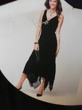 Siguiente tamaño 12UK/40EUR de largo Negro Floaty Gasa Vestido Pañuelo Dobladillo Gótico Gitano