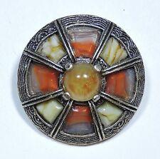 Vintage MIRACLE Scottish Glass Agate Pebble Kilt Brooch Pin  JN16931