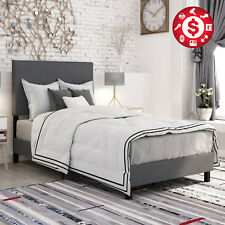 queen modern upholstered platform bed frame headboard gray bedroom furniture new