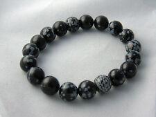 Bracelet Snowflake Obsidian Natural Stone Beads Chakra Balance Handmade 10mm