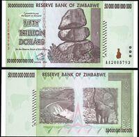 Zimbabwe 50 Trillion Dollars, 2008, Prefix AA, P-90, Banknote, UNC