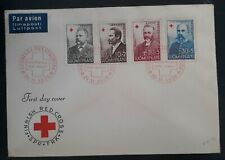 1956 Finland Red Cross FDC ties set of 4 stamps  cancelled Helsinki