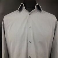 HUGO BOSS Mens Formal Shirt 41 16 (LARGE) Long Sleeve Grey Regular Fit Cotton