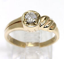 Diamond engagement ring solitaire 14K yellow gold round brilliant .25CT unique!!
