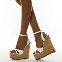 Women Cork Wedge Sandals Peep Toe Ankle Strap Summer Casual Dress Shoes PlusSize