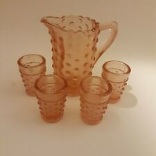 "Miniature pink glass hobnail lemonade set 4 tumblers 2"" tall 1 pitcher 4"" tall"