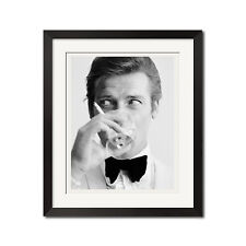 James Bond and The Saint Roger Moore Downs a Martini Urban Poster Print
