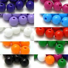 Lot of 100 Plastic Acrylic 8mm Smooth Round Solid Opaque Colored Ball Beads