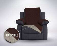 Chair Cover For Recliner Furniture Reversible Quilted Protector Slip Brown Beige