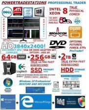 DELL TRADESTATION 4Mon 64GB RAM 8Core Xeon 256GBSSD 2TBHDD W10P Trading Computer