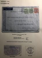 1940 Rotterdam Netherlands Airmail Censored Cover To Chicago Usa Perfin Stamp