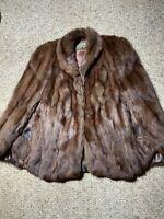 Vintage real fur stole Jacket Muskrat fur cape Wedding fur wrap Shawl