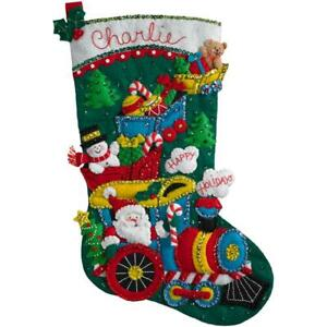 Bucilla Felt Applique Christmas Stocking Kit CHOO CHOO SANTA Train BONUS 18 inch