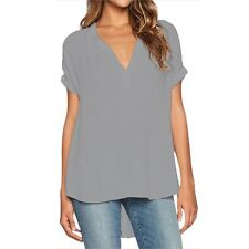 Women Summer Holiday V Neck Tops T-shirts Casual Loose Tunic Blouse Plus Size