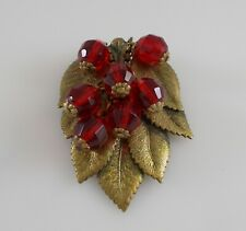 Vintage Antique Art Nouveau Brass Leaf Brooch RED Faceted Glass Rollo Chain