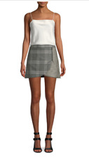 Alice + Olivia Lennon Color Block Grey & Black Plaid Draped Mini Skirt Multi Siz