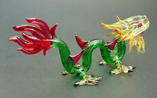 Stained Glass DRAGON, SERPENT, SNAKE,  Green, Red, Orange Painted Glass Ornament