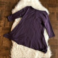 Soft Surroundings Petite Small Purple Stretch Tunic Top 3/4 Sleeve