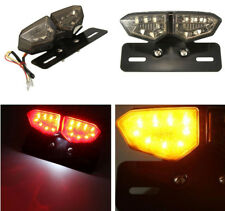 Motorcycle Smoke License Plate LED Brake Tail Turn Signal Integrated Light
