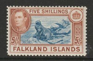 Falkland Is.1938-50 5/- Blue & chestnut SG 161 Mint.