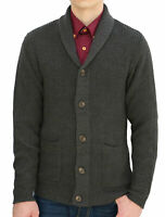 Men Shawl Collar Pockets Front Single Breasted Long Sleeves Cardigan