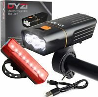 DYZI SUPER BRIGHT BIKE BICYCLE LIGHTS SET LIGHT WATERPROOF FULLY RECHARGEABLE