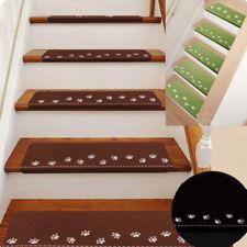 1/2/4Pcs Skid Resistant Adhesive Backing Carpet Stair Step Mat Stair Tread Mats